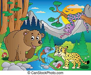 foresta, scena, con, vario, animali, 9