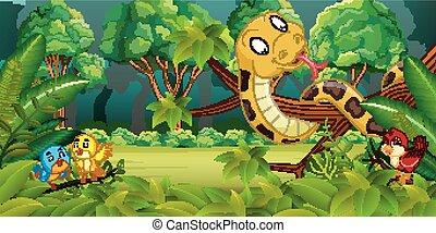 foresta, serpente, uccelli