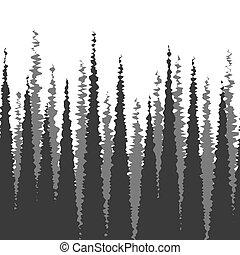 foresta, silhouette, seamless, fondo, abete bianco, denso, orizzontalmente, monocromatico, albero, illustrazione, modello