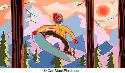 foresta, snowboarder