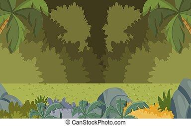 foresta verde, con, erba, e, alberi.