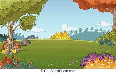 foresta verde, con, erba, e, albero