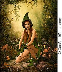 foresta verde, elfo, 3d, cg