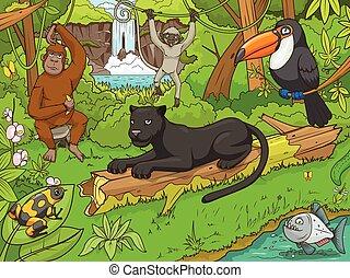 foresta, vettore, animali, giungla, cartone animato