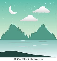 foresta, wandelust, scena, lago, paesaggio