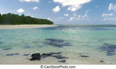 Forested coastline and blue lagoon, Mauritius - Tropical...