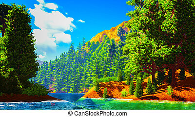 Forested shore over ocean - Forested shore over the ocean
