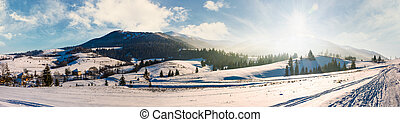 forested valley of Pylypets village in Carpathians. Gorgeous...