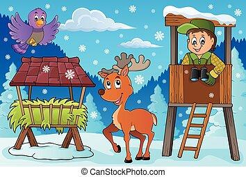 forestier, hiver, thème, 3