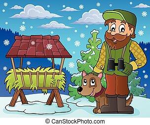 forestier, hiver, thème