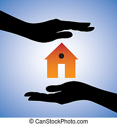 forestiller, begreb, hus, system, kvindelig, forsikring til hjem, behersker, to, sikkerhed, house/home., symbol., illustration, beskyttelse, hænder, grafik, denne, installer, dåse, garanti, osv.., eller