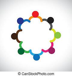 forestiller, grafik, diversity., diversity, børn, og, denne, danne, spille, folk, børn, også, begreb, teamwork, dåse, hånd ind hånd, behersker, hold, korporativ, circle.