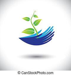 forestiller, plante, begreb, dåse, icon(symbol)., kimplante, kvinde, graphic-, hænder, osv., illustration, begreb, miljøbestemte, vektor, skov, beskytter, planter, konservering, eller, ligesom