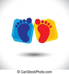 forestiller, skole, baby, graphic., tegn, baby, børneværelse, og, -, børnehave, par, spill, farverig, symbol, illustration, toddlers, fod omsorg, skole kids, denne, centre, osv., vektor, dåse, eller