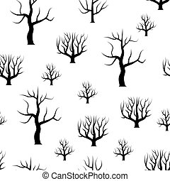 ForestPattern-26 - Seamless black and white curved trees...