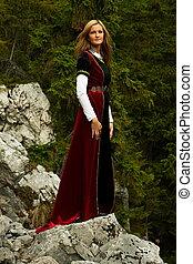 forestral, stupéfiant, paysage, historique, blond, beau, rochers, position femme, long, fée, amids, cheveux, robe