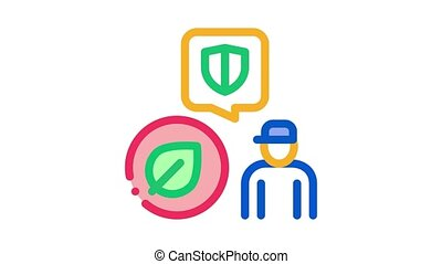 forestry defender protector Icon Animation. color forestry defender protector animated icon on white background