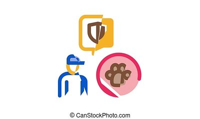Forestry Lumberjack Icon Animation Forestry Working Equipment And Tree Safe Fence, Animal And Forest Protection