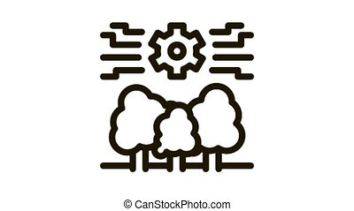 forestry mechanical gear Icon Animation. black forestry mechanical gear animated icon on white background