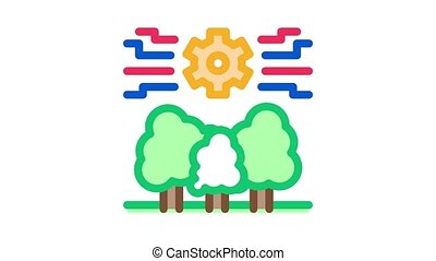 forestry mechanical gear Icon Animation. color forestry mechanical gear animated icon on white background