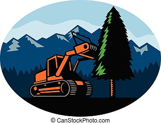 forestry-mulcher-tearing-tree-mountains-oval-retro