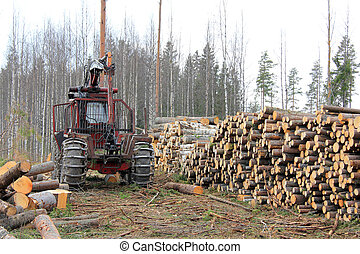 Forestry Tractor at Logging Site - Old forestry tractor and ...