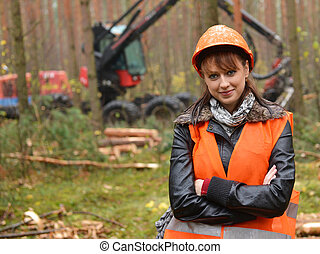 Forestry worker - Young and beautiful forestry engineer at...