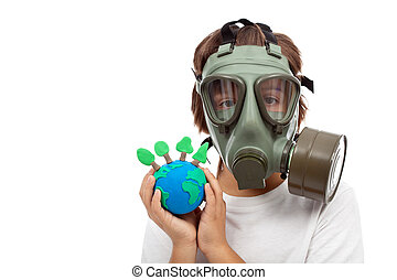 Forests importance - ecology concept with child wearing gas mask holding earth globe