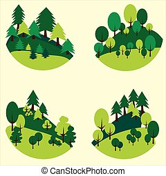 Forests trees and pines cut out in the form of a circle