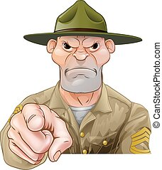 foret, armée, sergent, pointage, dessin animé