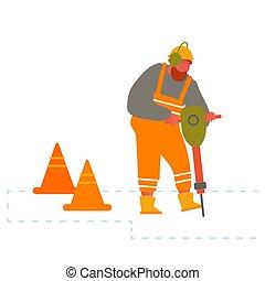 foret, clôturé, rupture, constructeur, site, cônes, route, avertissement, équipement, marteau-piqueur, pneumatique, asphalte, construction