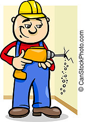 foret, ouvrier, dessin animé, illustration