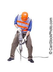foret, pneumatique, isolé, marteau, équipement, ouvrier, blanc