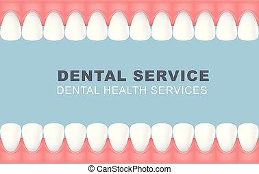 foretooth, affiche, dentaire, -, dents, ligne, cadre, rang