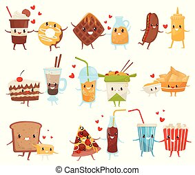 Forever friends set, cute funny food and drinks cartoon characters, fast food menu vector Illustration on a white background