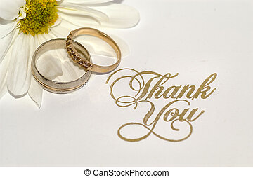 wedding thank you note in gold
