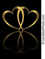Forever love. - Illustration depicting two golden hearts...