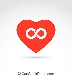 Forever love concept with heart and infinity symbol, vector creative icon.