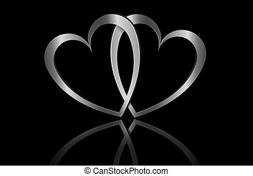 Forever love. - Illustration depicting two metallic hearts...