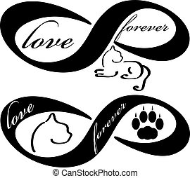 Forever love icon with cat  isolated on white background