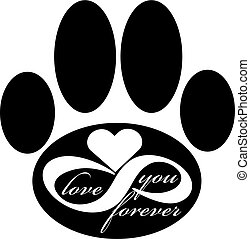 Forever love icon with dog paw isolated on white background. Vector illustration