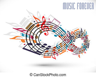 Forever music concept, infinity symbol made with musical...