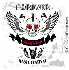 Forever Rock-n-Roll Poster Vector Illustration