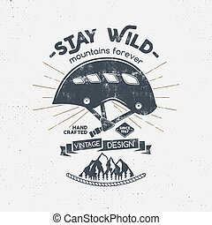 """forever""""., vecchio, letterpress, testo, alpinismo, design., casco, stile, camicia, vendemmia, -, retro, logotipo, montagne, badge., ingranaggio, effetto, rampicante, illustration., emblem., vettore, t, selvatico, arrampicarsi, """"stay"""