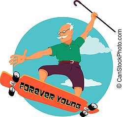 Forever young - Elderly man with a walking can riding a ...