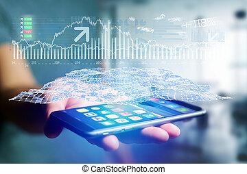 forex, 概念, ビジネス, -, smartphone, 取引, インターフェイス, データ, 未来派