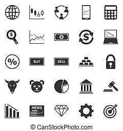 forex, blanc, icônes, fond
