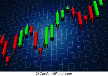 forex candlestick chart over dark background