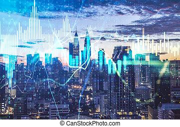 Forex charts hologram on modern building background.