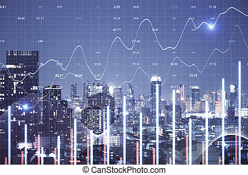 Forex charts hologram on night building background.